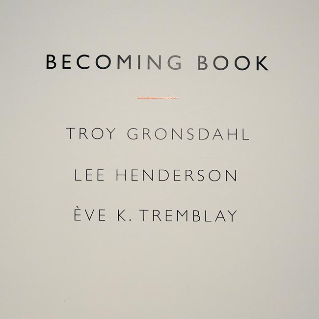 Becoming Book - Dunlop Art Gallery. Jan 19 - March 17, 2013