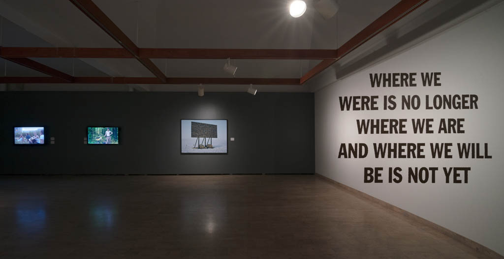 Left to right:  Adad Hannah: The Russians, 2011  HD video (Courtesy of Pierre-FranÁois Ouellette art contemporain, Montreal and Equinox Gallery, Vancouver);  Kevin Schmidt: A Sign in the Northwest Passage, 2010 LightJet print, cedar frame (Courtesy of Catriona Jefferies); Raymond Boisjoly: a relative position and direction, 2014 Acrylic vinyl (Courtesy of Catriona Jefferies) Photo: Troy Mamer